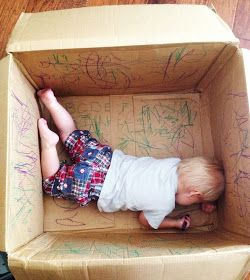 Box + Crayons = Great Activity ...I can remember awesome times with cardboard boxes!