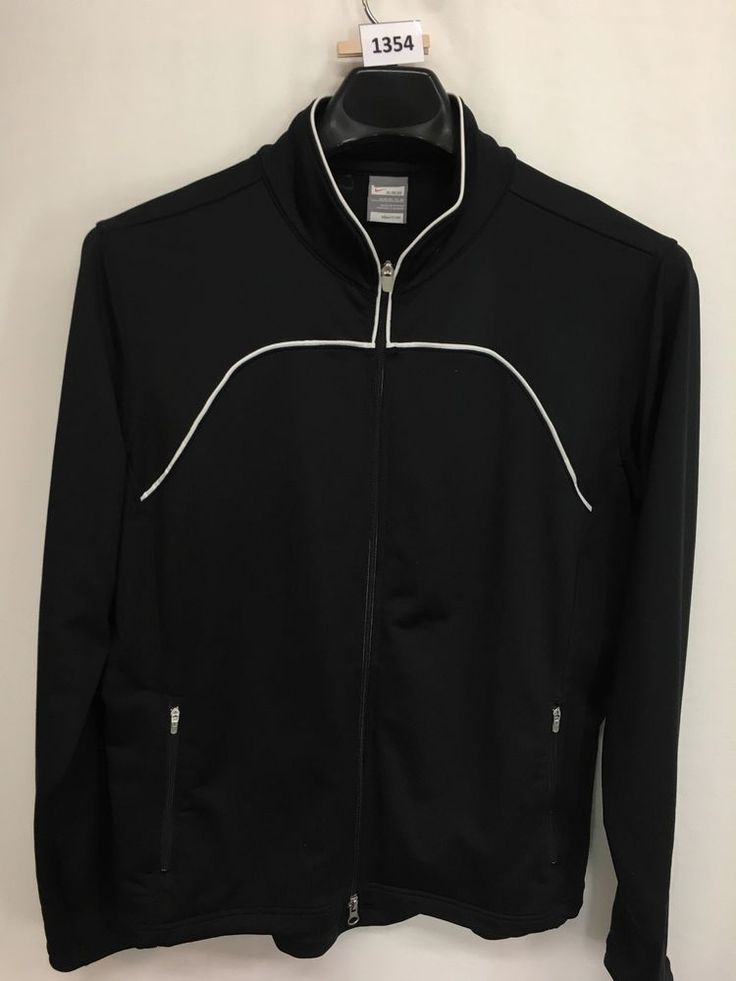 WOMENS XL 16/18 NIKE FIT DRY TRACK JACKET BLACK FULL-ZIP CASUAL ATHLETIC #NIKE #AthleticJackets