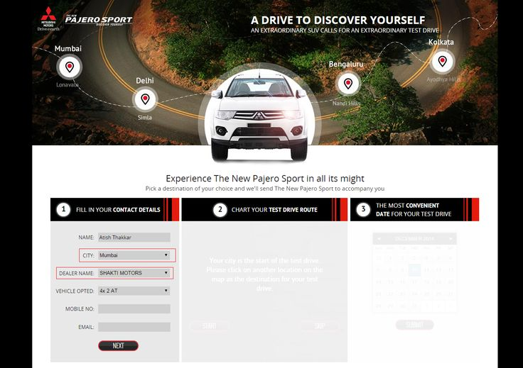 You can find Shakti Motors For booking Test Drive on Mitsubishi's official site for india.  Also choose a Test Drive Route and Most Convenient Date.  For booking: http://www.pajerosport.in/test_drive.php  Booking at Pajero Sports Authorized Dealer Mumbai  Contact US:  Shakti Motors Automotive Pvt. Ltd.  Unit No. 4, Banking Complex – II, Plot No. 9 & 10, Sector 19A, Opp. Dana Bazaar Gate No. 3, Vashi, Navi Mumbai – 400 707.  Phone: +91 – 22 – 4141 9200  Info@shaktimotors.co.in