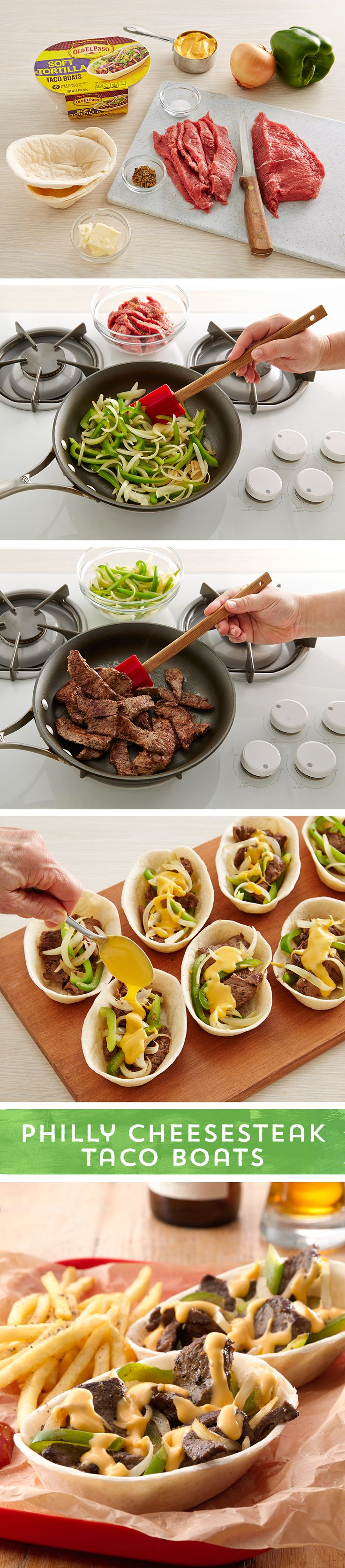 Whether you were born and raised in West Philadelphia won't matter once you sink your teeth into these Philly Cheese Steak Taco Boats! Made with thin-sliced beef and the classic peppers and onions combo, then piled high in an Old El Paso Taco Boat™, and topped off with cheese... these taco boats are sure to bring you back to the classic east coast favorite. Ready to eat in just 30 minutes!