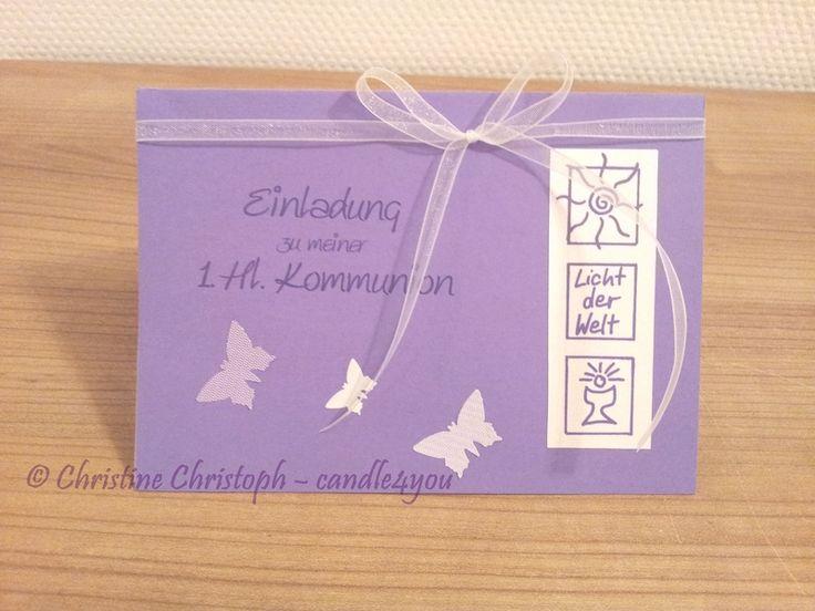 Einladungskarte Kommunion Motto Licht FL +Umschlag Von Candle4you Auf  DaWanda.com