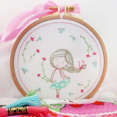 "DMC Embroidery Kit ""Spring Girl"" by Tamar Nahir-Yanai 
