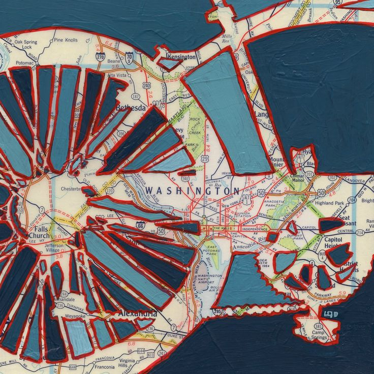 Bike Washington DC 16x16 print -- featuring Falls Creek, Rock Creek Park, Highland Park, Anacostia art print of original map painting. all rights reserved © Leslie DeRose 2015 --- Title: Bike Washington DC --- Dimensions: 14x14 image on 16x16 paper --- Medium: Archival print of my original acrylic painting --- Bike Washington DC is a print of the original mixed media map painting. A vintage map of the DC area is in the background and cobalt blue silhouette of a bike had been sketched and...