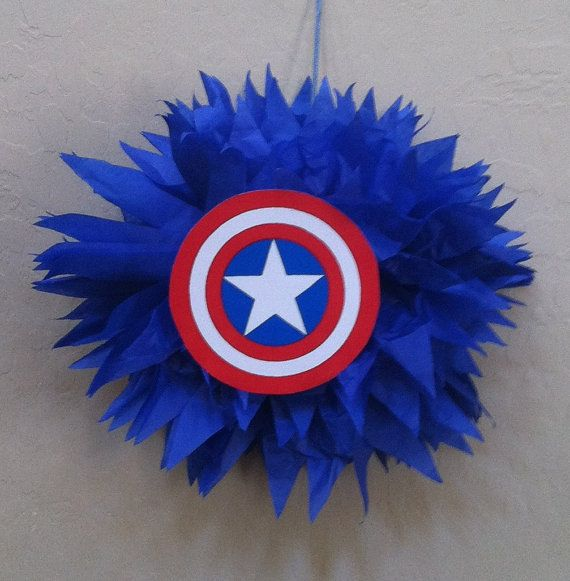 DIY Captin America poms. Superhero birthday decorations.