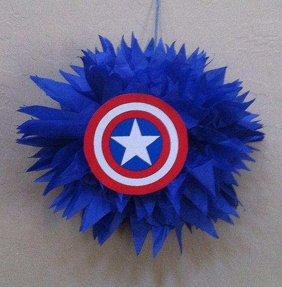 DIY Captin America poms. Superhero birthday decorations.