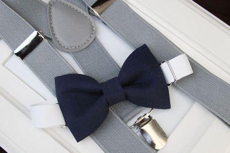 Navy bow-tie & Light gray elastic suspender set, Boy bow tie and suspenders set , Men bow tie and suspenders