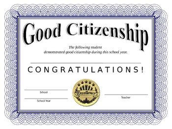 Good Citizenship Award   End of School Year Resources ...