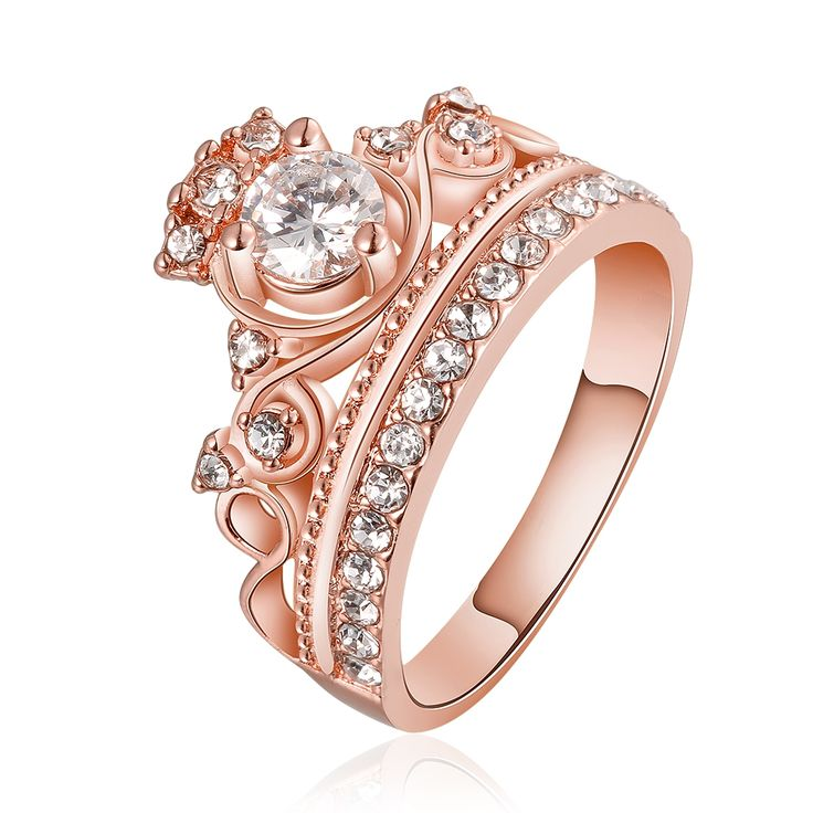 Rose Gold Finished Fashion Female Ring Princess Tiara Rings White Cubic Zircon Crystal Ring For Girls Bigger Jewelry Size