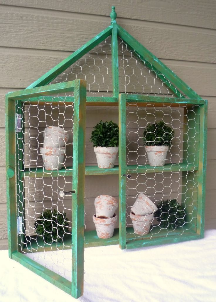 chicken wire cabinet-need to do this around the pot keeping station so they stop flying the coop!