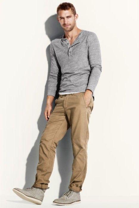 Men's Grey Henley Sweater, Khaki Chinos, Grey Suede Boots