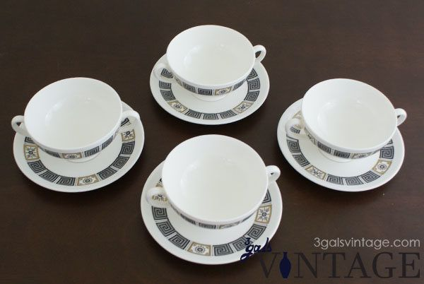 Vintage Set of 4 Wedgwood Cream Soup Bowls and Saucers with Black & Gold Pattern - Full Set
