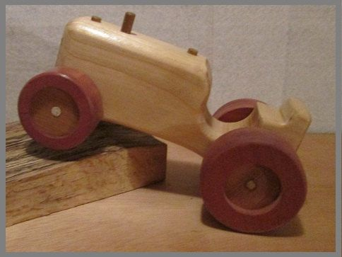 Toy wooden tractor