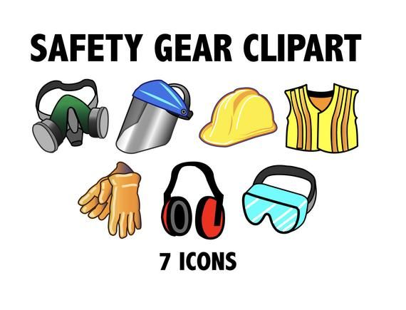 Safety Gear Clipart Hats Masks And Protection Etsy Safety Gear Clip Art Woodworking Software