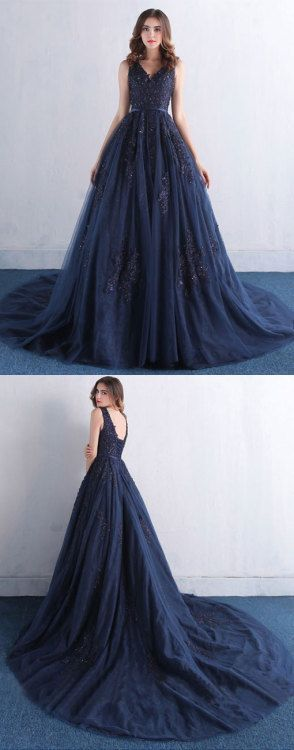 Dark blue tulle long prom dress M1019
