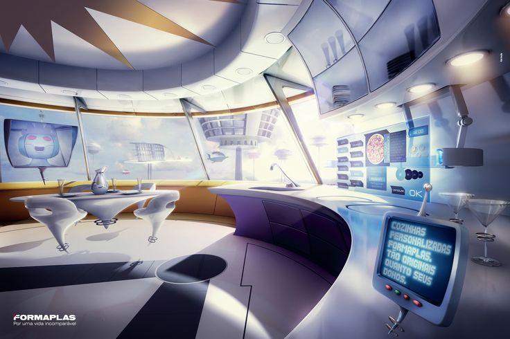 Jetsons kitchen retro sci fi pinterest cyberpunk for Cyberpunk interior design