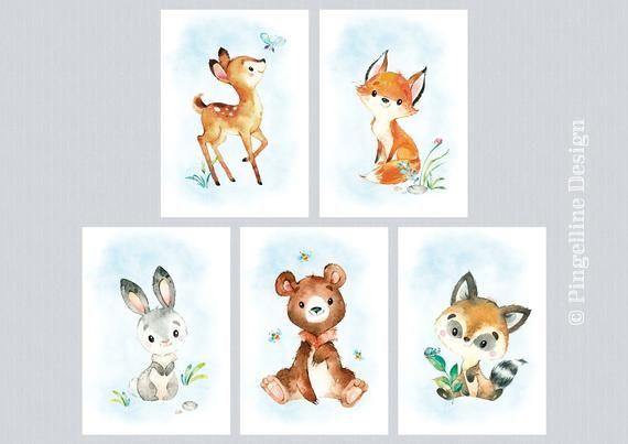17 Wandbilder kinderzimmer waldtiere