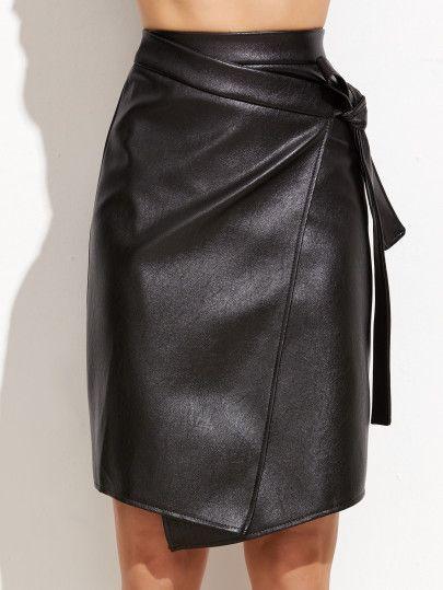 Black PU Warp Skirt With Knot Detail