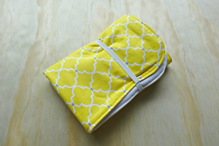 Yellow and white quatrefoil pattern wipeable baby change mat cover. change mat cover. nappy wallet change mat by BitsandBobs4Bubs on Etsy