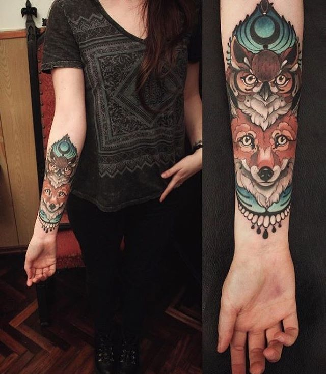 Тату Эскизы | Tattoo Sketch (@tattoo_looks) on Instagram: #tattoo_looks by Santi Bord #fox #owl #owltattoo #foxtattoo #ornamentaltattoo