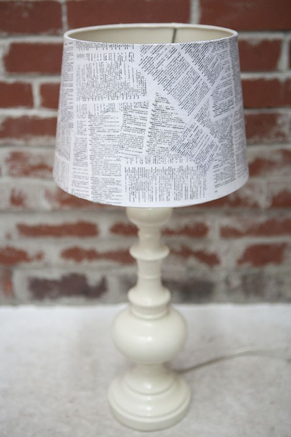 A DIY lampshade using book pages.  Adaptable. Could use photocopies of photos.