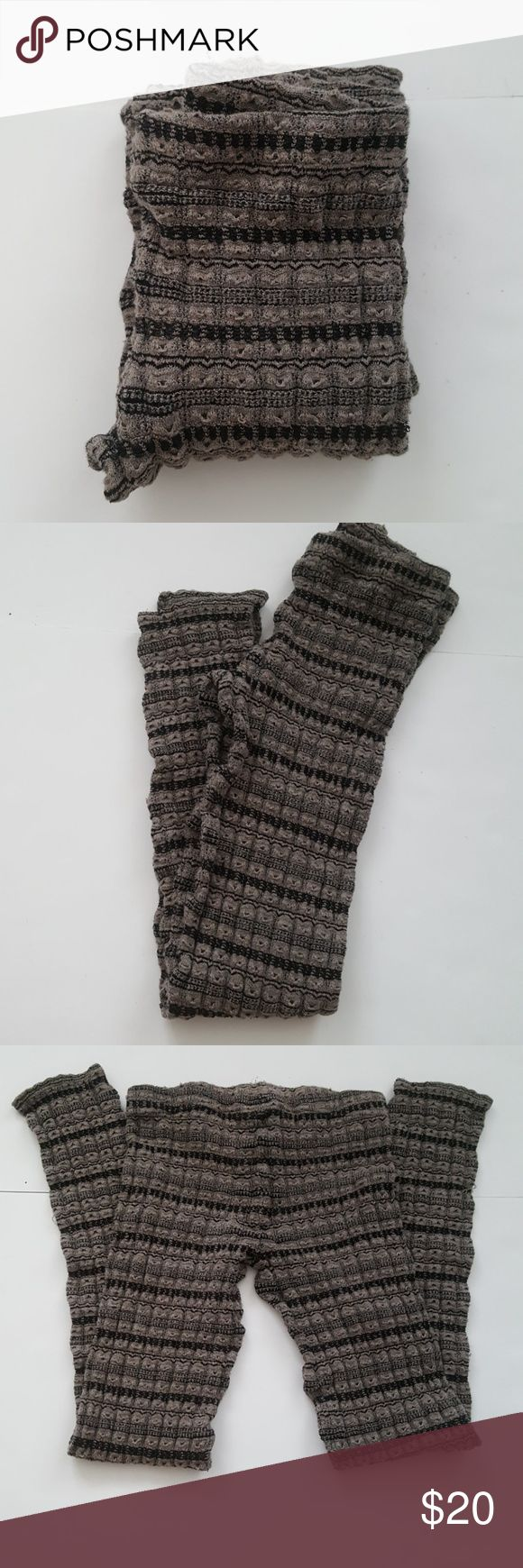 """Free People Black and Gray Knit Leggings Knit leggings - ideal for wearing under a long tunic top or dress.                                                                              Inseam 24 1/2"""" Rise 7"""" Free People Pants Leggings"""