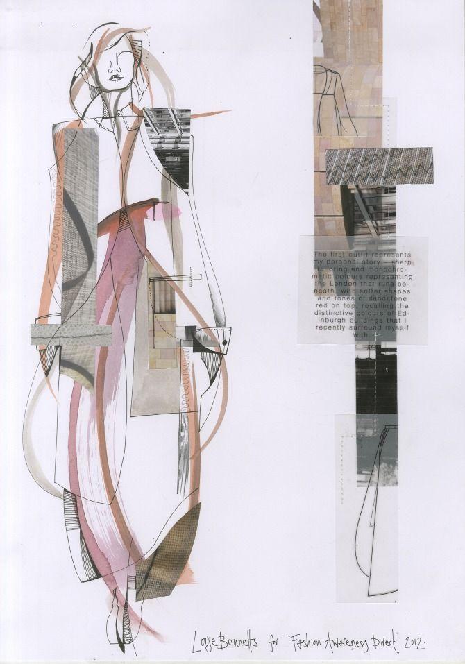 Fashion Sketchbook - sharp tailoring with soft shapes  colours - fashion design drawing; fashion illustration; fashion portfolio layout // Louise Bennetts