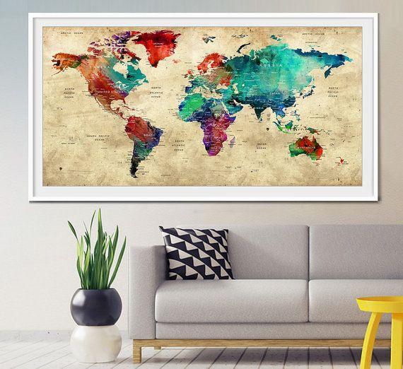 Push Pin viaggio World Map, Push Pin Travel Map, acquerello mondo mappa stampa, mappa mondo di Push pin, puntina da disegno mappa, arte della parete, poster mappa mondo (L4)
