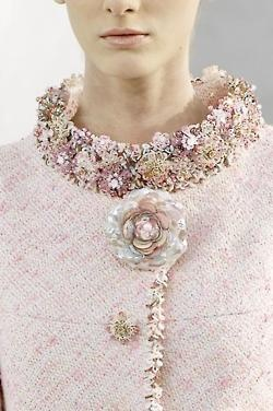 Gorgeous pale pink suit. <3 the embellishments.Chanel