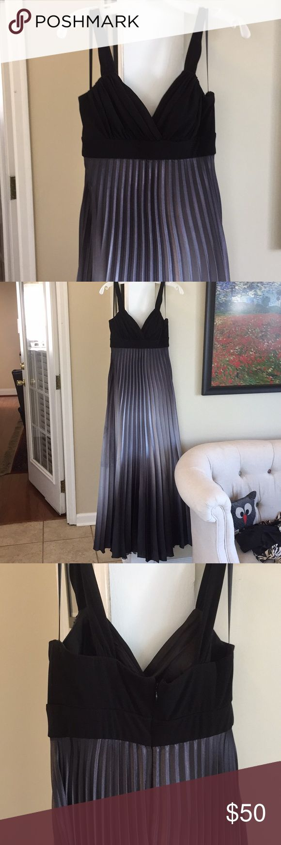 Black and silver ombré gown Elegant gown with empire waist and pleated skirt with black to silver ombré effect. Slightly wider straps. Perfect for prom or formal event. Small amount of discoloration on the right side of the skirt shown in pictures. Dresses Prom