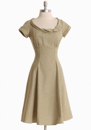 Mad Men vintage inspired olive gingham dress. 1950s 1960s