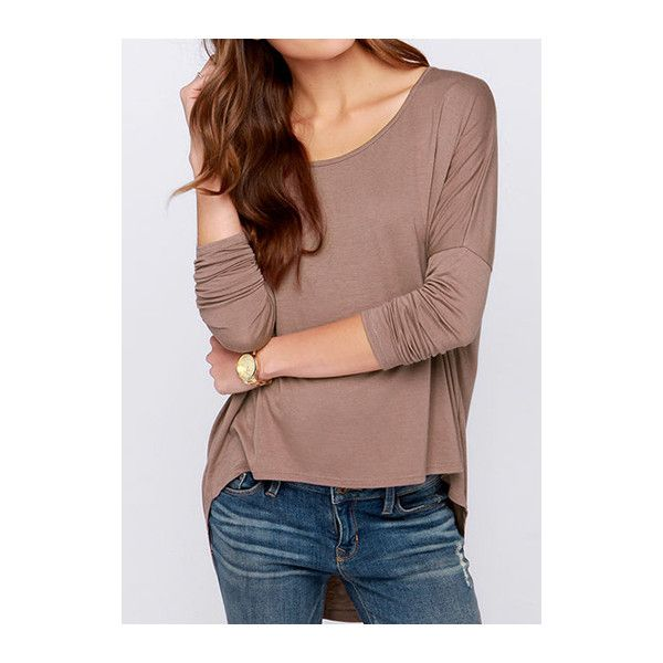 Batwing Sleeve Round Neck Asymmetric T Shirt (€16) ❤ liked on Polyvore featuring tops, t-shirts, coffee, collared t shirt, brown tops, long sleeve tee, asymmetrical t shirt and coffee t shirt