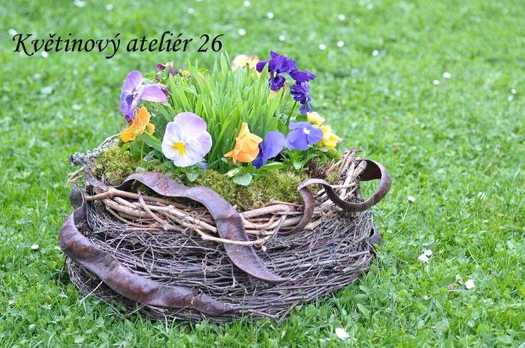 Květinový Ateliér 26 - originální ručně vyrobená proutěná nádoba osázená maceškami a osením ... https://www.facebook.com/kvetinovyatelier26/