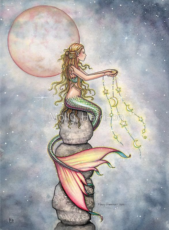 """Star Filled Sky"" Mermaid Art by Molly Harrison by Molly  Harrison"