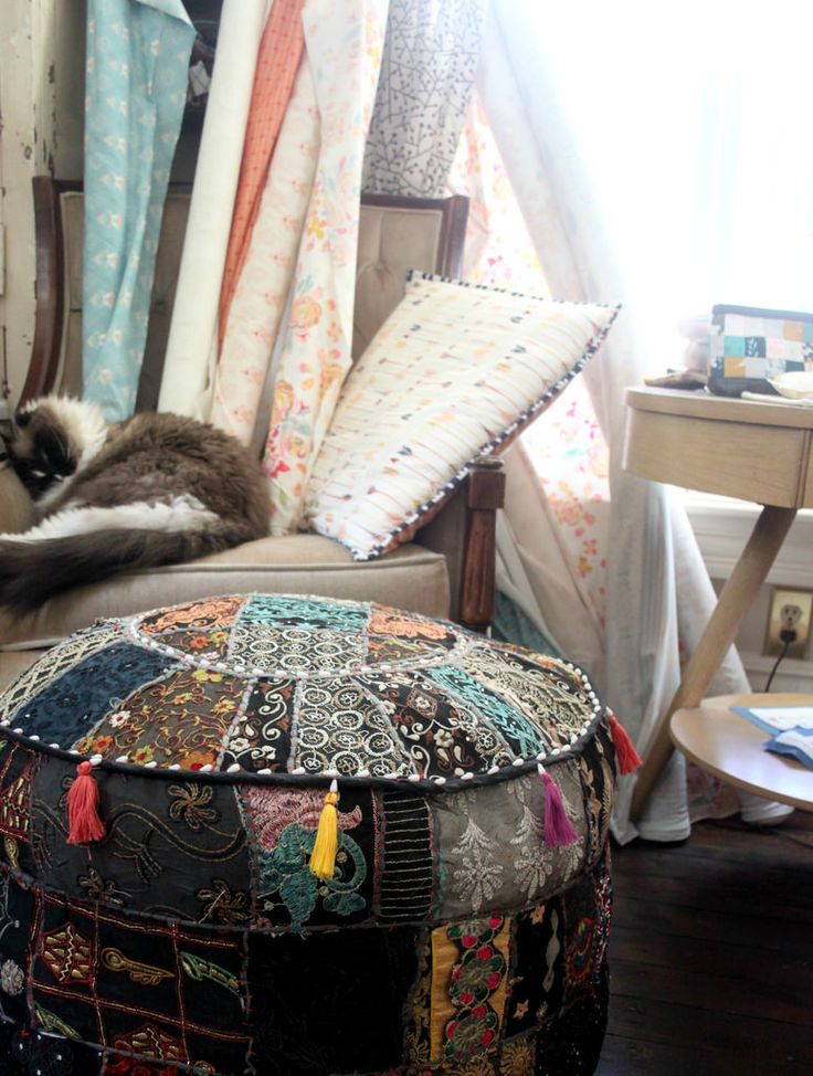 Clever idea for storing extra cushion forms or quilt batting. Boho Pouf : A Pillow & 93 best Sewing Room Ideas images on Pinterest | Sewing rooms ... pillowsntoast.com