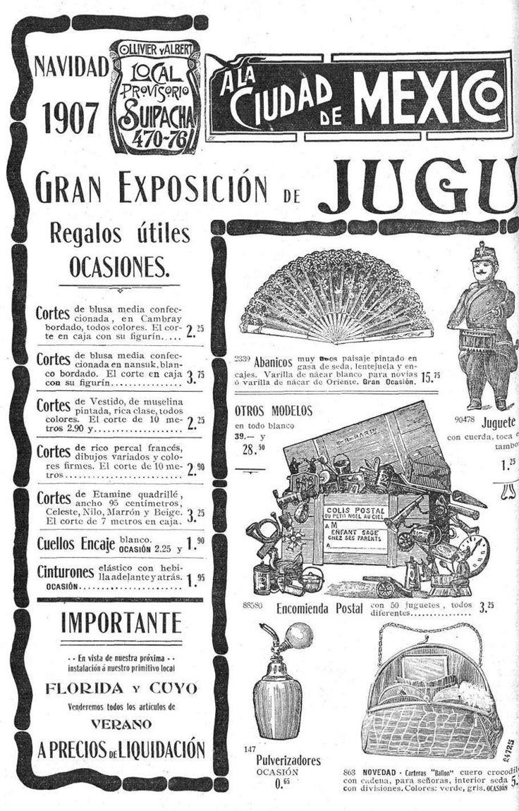 """Publicidad de la tienda """"A la ciudad de México, navidad. 21 de diciembre de 1907. Fuente: Revista Caras y caretas"""