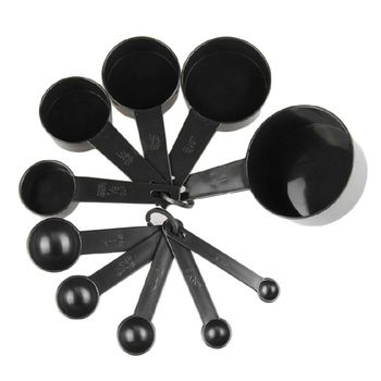 Copos De Medição de Plástico preto 10 pçs/lote Cozinha Ferramentas de Medição Colher De Medição Conjunto de Ferramentas Para O Cozimento de Café Chá