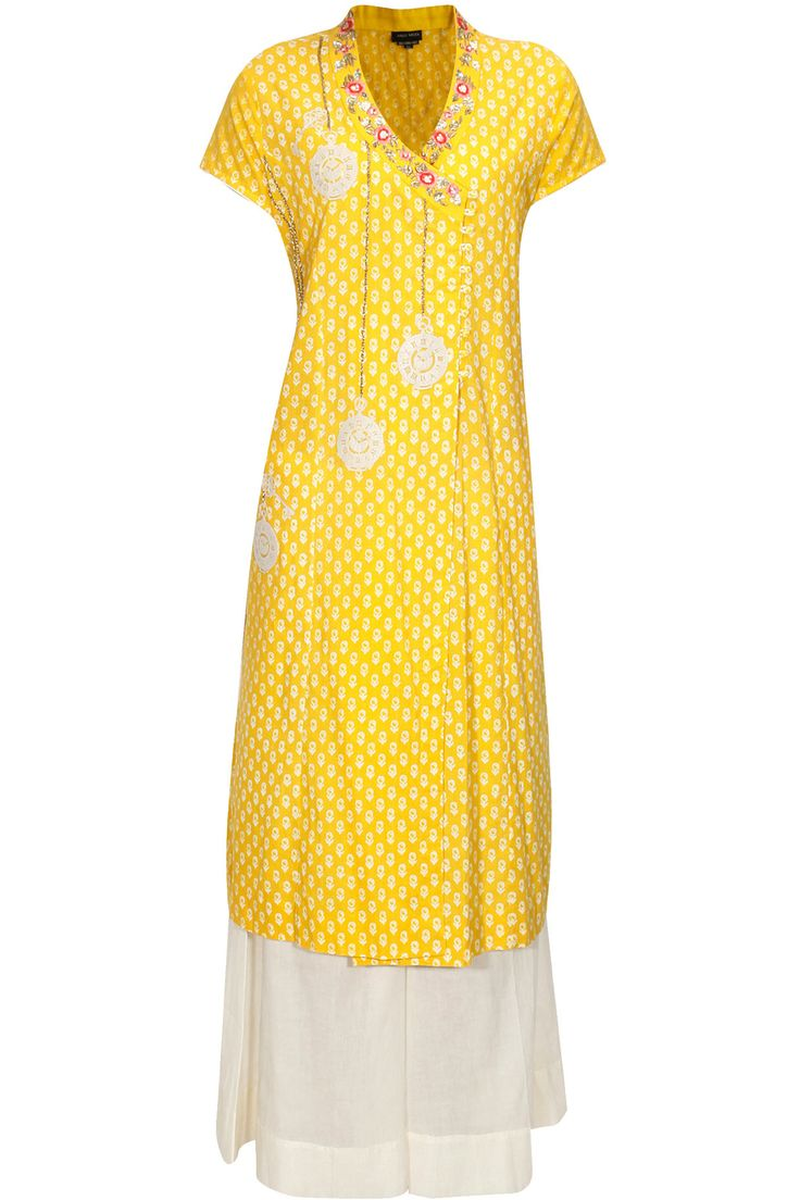 Yellow floral embroidered angrakha kurta and palazzos set available only at Pernia's Pop Up Shop.#perniaspopupshop #shopnow #anjumodi #clothing #festive #newcollection