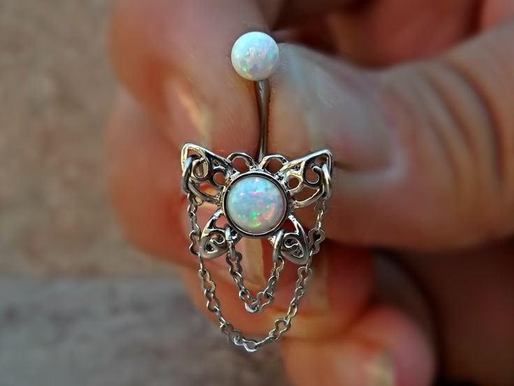 Fire Opal White Butterfly Belly Ring Stainless Steel Fits In Navel Ring 14ga Body Jewelry