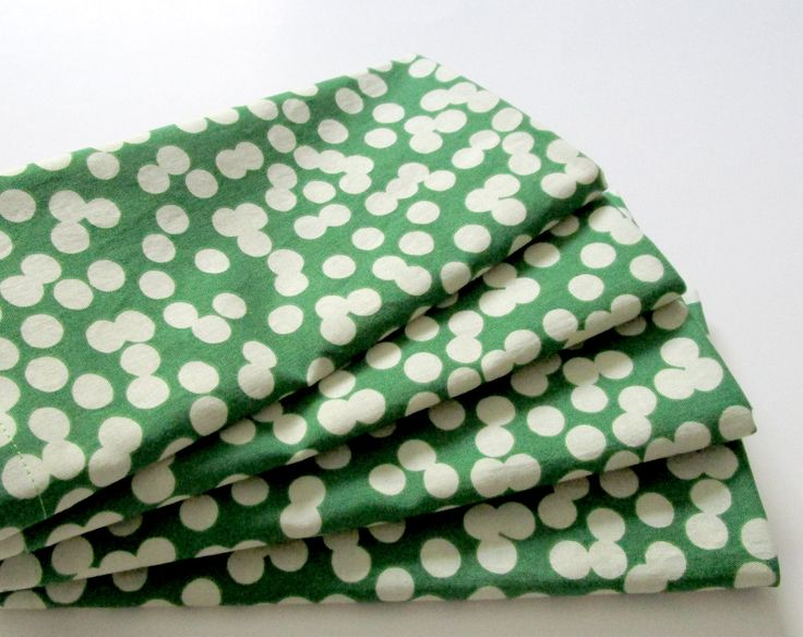 Large Cloth Napkins - Set of 4 - Big Green Bokeh Dots - Dinner, Table, Everyday, Wedding by ClearSkyHome on Etsy