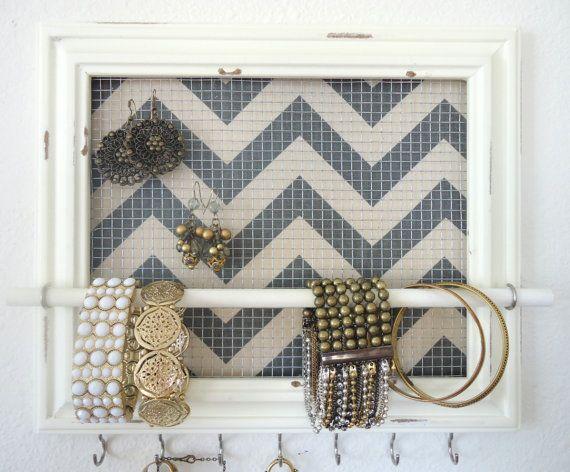 Jewelry Organizer - Jewelry Holder Chevron Frame 7 silver hooks & Jewelry Bar