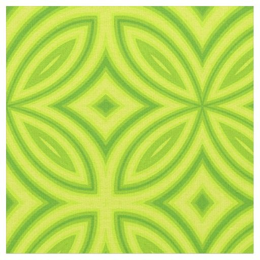 Green flower abstract geometric pattern fabric.