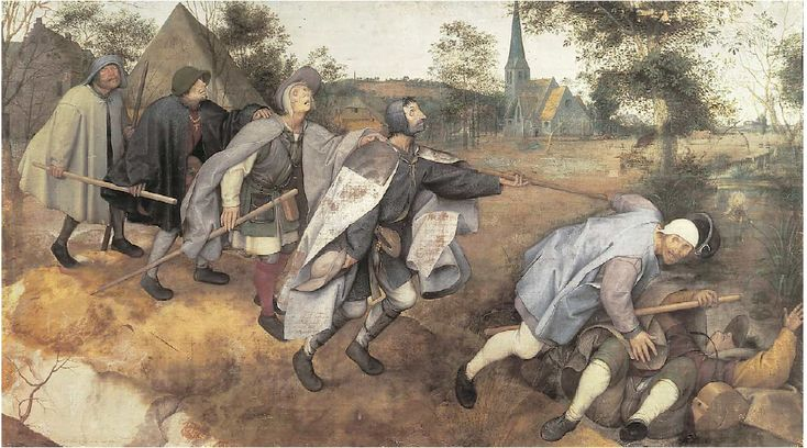 The Blind Leading the Blind, Blind, or The Parable of the Blind is a painting by the Flemish renaissance artist Pieter Bruegel the Elder, completed in 1568. Executed in distemper on linen canvas, it measures 86 cm × 154 cm.