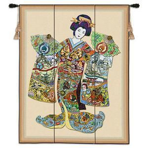 japanese girl tapestry wall hanging | Asian Tapestry Geisha Girl Wall Hanging Japanese Art | eBay