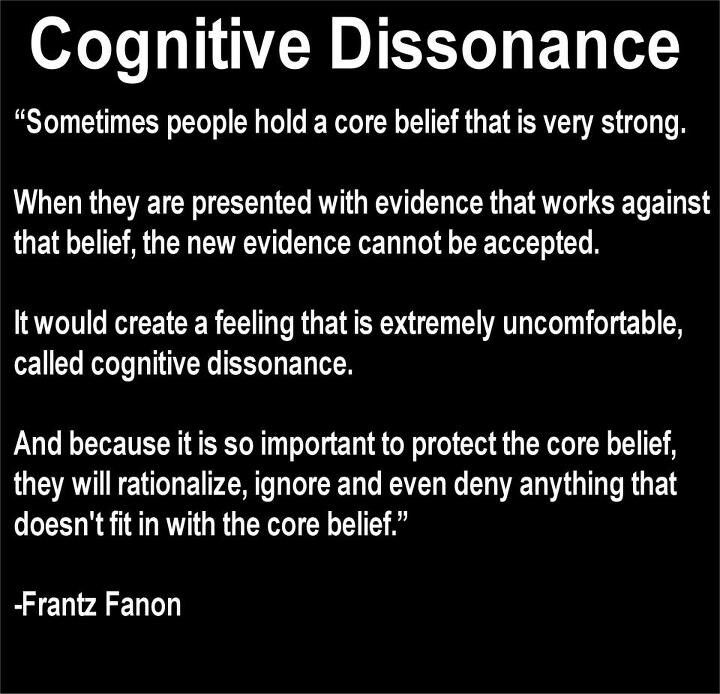 """Why it was hard to """"see"""" the abuse and affairs. A definition of cognitive dissonance. For more details see http://www.skepdic.com/cognitivedissonance.html"""