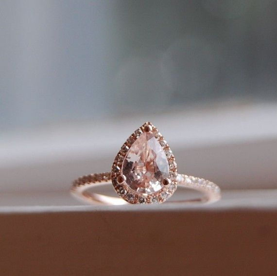 Peach champagne sapphire and diamond rose gold ring <3