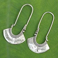 Sterling silver hoop earrings, 'Hollow Bell' from @NOVICA, They help #artisans succeed worldwide.