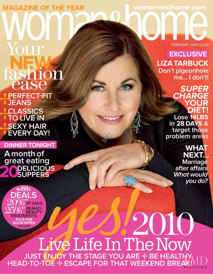 Cover with Liza Tarbuck February 2010 of GB based magazine woman&home from IPC Media Ltd.  including details. (ID:7218)