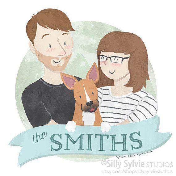 Custom Listing for Alexa Family Portrait of by SillySylvieStudios