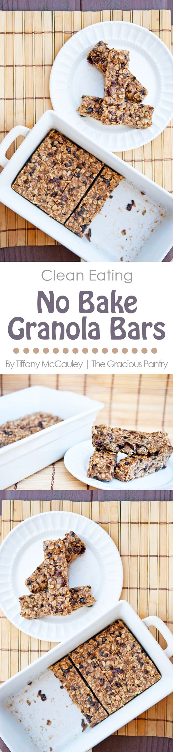 Clean Eating No Bake Oatmeal Granola Bars. Perfect for Back To School lunches!! ~ https://www.thegraciouspantry.com