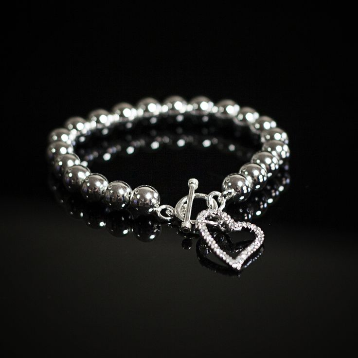 Gorgeous 925&Co  Sterling Silver 8mm Ball Bracelet with CZ Heart Drop.  View more of our range at www.925andco.com.au